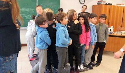 grupo del alumnado de 3º EP del colegio aleman de San Sebastián en las actividades organizadas por Tabakalera sobre Periferias escolares