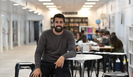 Marc Masip en el Deutsche Schule San Sebastián, foto de Félix Morquecho